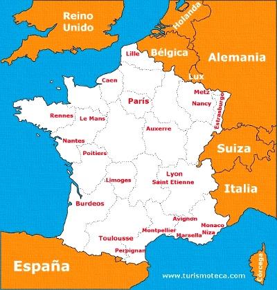Mapa De Francia Ciudades.Distancias Desde Paris A Otras Ciudades De Interes