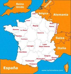 Mapa de Francia con sus principales ciudades